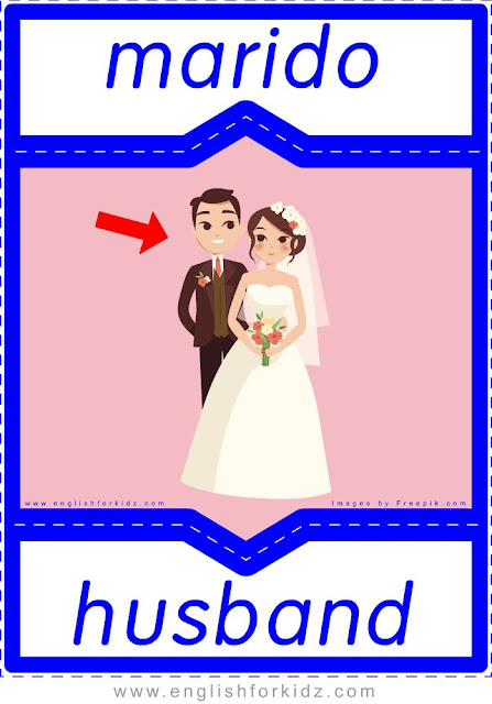 Husband English-Spanish flashcards for the family members topic