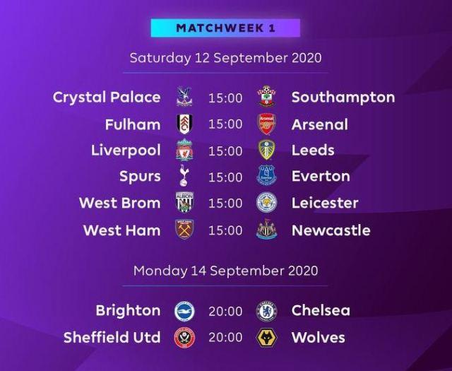 Jadwal Liga Inggris 2020-2021 Pekan 1