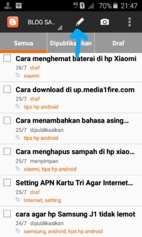 cara membuat artikel blogger di android