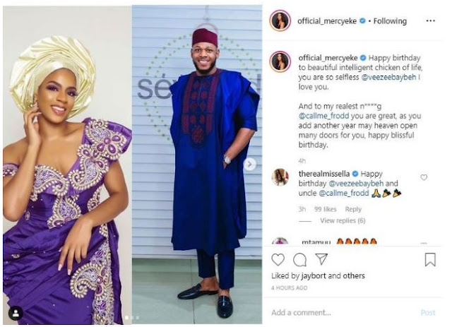 """""""Happy birthday to a beautiful intelligent chicken of life, you are so selfless"""" – Mercy Eke to Venita & Frodd, as they celebrate their birthdays"""