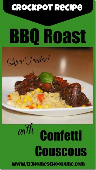Crock pot tender bbq roast with couscous