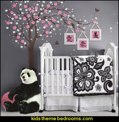 cherry blossom wall decal stickers  oriental theme bedroom decorating ideas - asian themed bedroom decorating ideas - Asian Decor - Oriental Decor - Japanese Inspired Bedrooms - Chinese theme decorating ideas - China and Japan Asian Style - Asian dragon themed