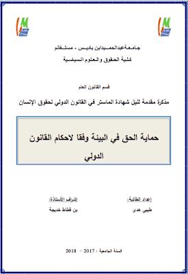 مذكرة ماستر: حماية الحق في البيئة وفقا لأحكام القانون الدولي PDF