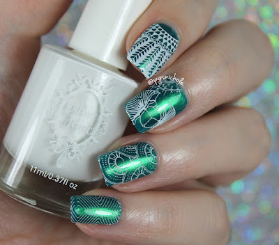Pretty Serious Cosmetics Khepri's Amulet + Powder Perfect White stamping polish | Powder Perfect Egypt Stamping Plate