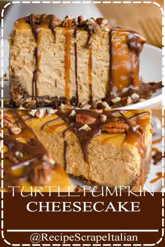 TURTLE PUMPKIN CHEESECAKE #recipe #aplepie #delicious