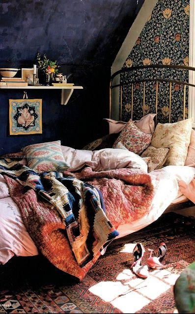 Dark and moody bohemian bedroom