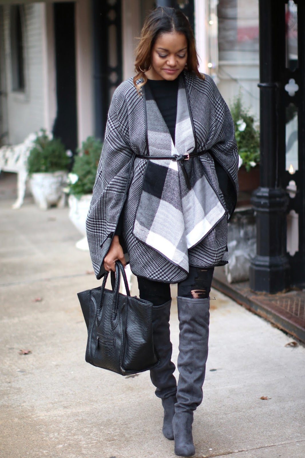 fashion blogger, dallas blogger, black girl blogger, steve madden GORGEOUS boot, otk boot, over the knee boot, celine luggage look for less, Asos cape, reversible cape, how to wear a cape, stuart weitzman highland dupe, look for less stuart weitzman