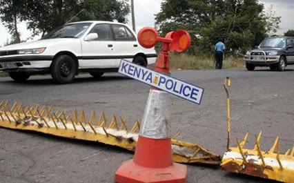 Police manning Roadblocks at Mtwapa. FILE