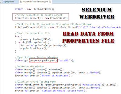 Read data from Properties file using Java Selenium webdriver