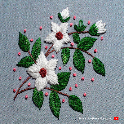 Tiny white hand embroidered flower easy way, So attractive hand embroidery white flower