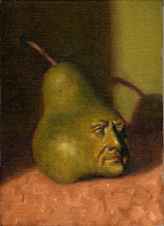 Oil painting of a green pear with the face of composer Franz Liszt set into the bottom right.