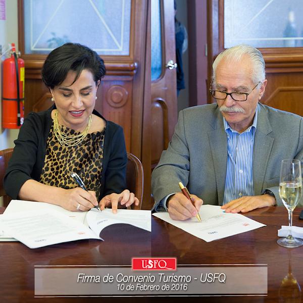 Este miércoles 10 de febrero, la USFQ firmó un convenio con la Empresa Pública Metropolitana de Gestión de Destino Turístico