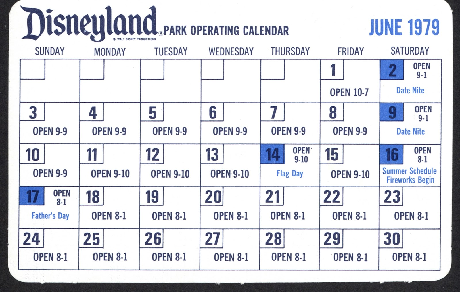 Vintage Disneyland Tickets Disneyland Park Operating Calendar 1979