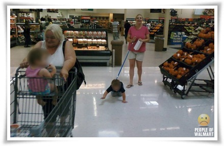 People of Wal Mart Kid on a Leash
