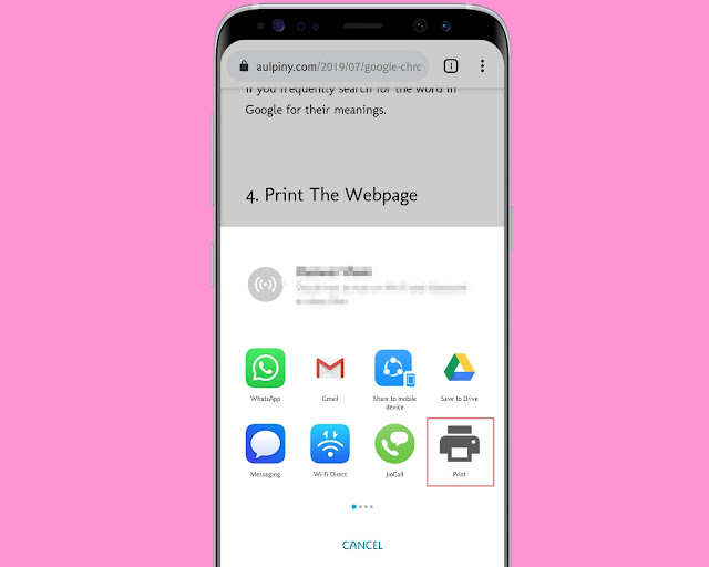Print The Web page - Google Chrome Hidden Features And Settings