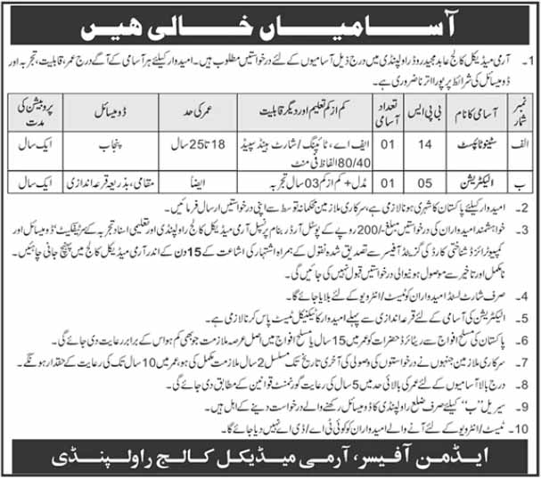 Multiple jobs in Pakistan Army Medical College