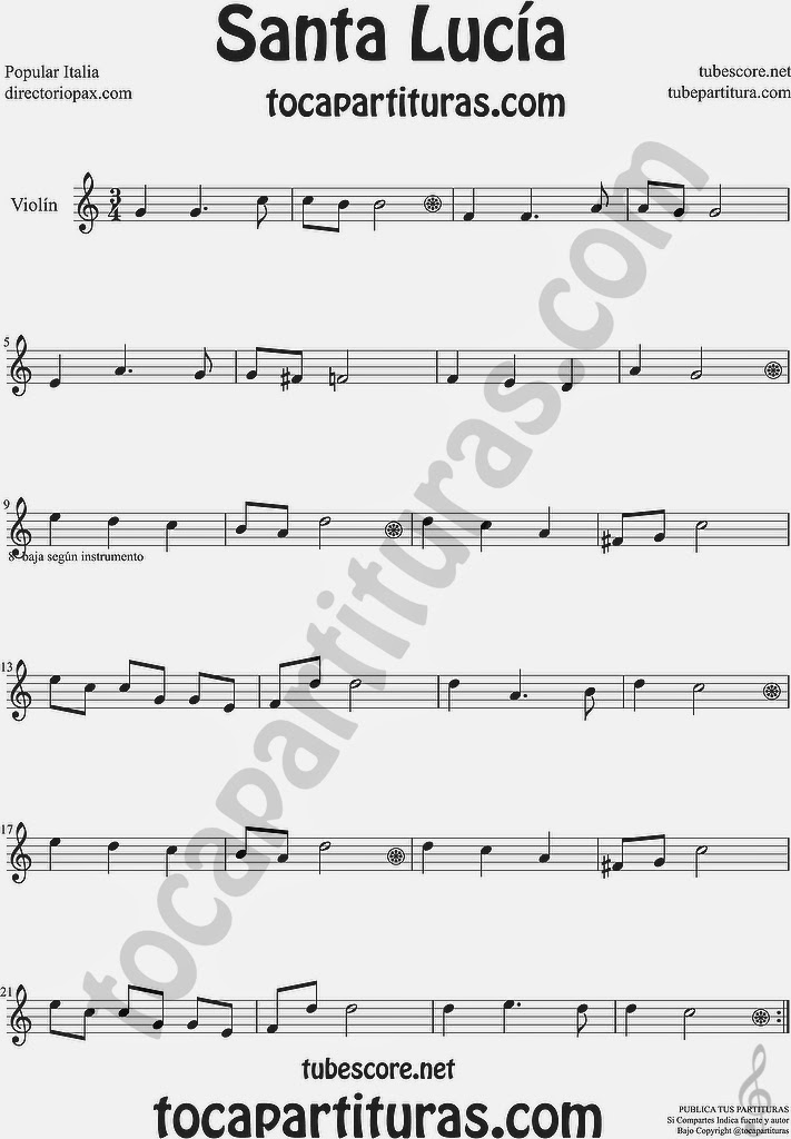 Santa Lucía Partitura de Violín Sheet Music for Violin Music Scores Music Scores
