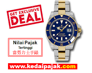 Pajak Jam Rolex Submariner Dengan RM35,000 - kedaipajak.com