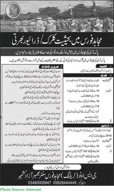 Join Pak Army Mujahid Force 2021 Latest Jobs in Pak Army Mujahid Force Latest