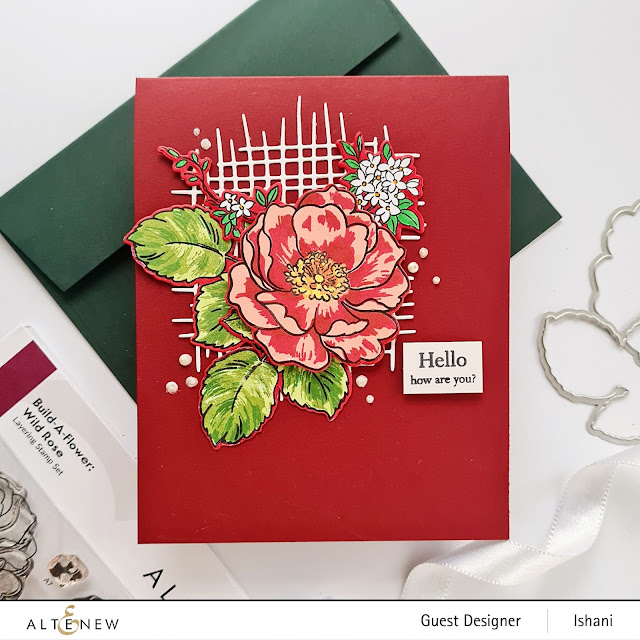 Altenew BAF Wild rose layering stamp, Build a flower stamp set - Wild rose, Rose cards, Wild rose stamp, layering stamps, altenew Burlap die, Clean and simple rose card, Turquoise rose card, Quillish, Guest designer Ishani, Altenew layering stamps, Red rose card with red cardbase