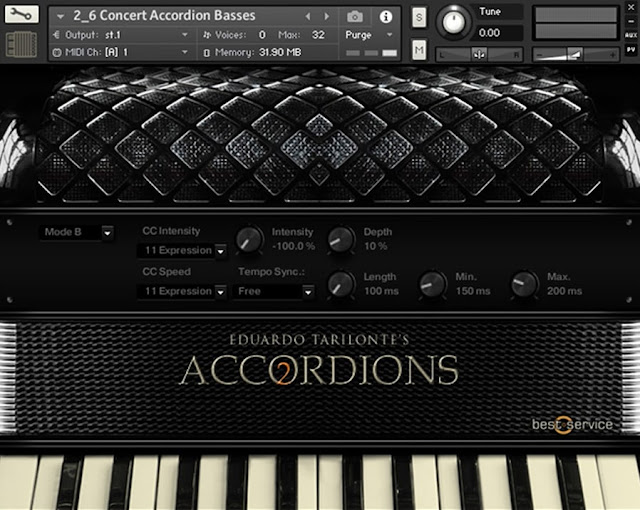 Interface da Library Best Service - Accordions 2 (KONTAKT)