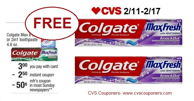 http://www.cvscouponers.com/2018/02/free-colgate-max-toothpaste-at-cvs-211.html