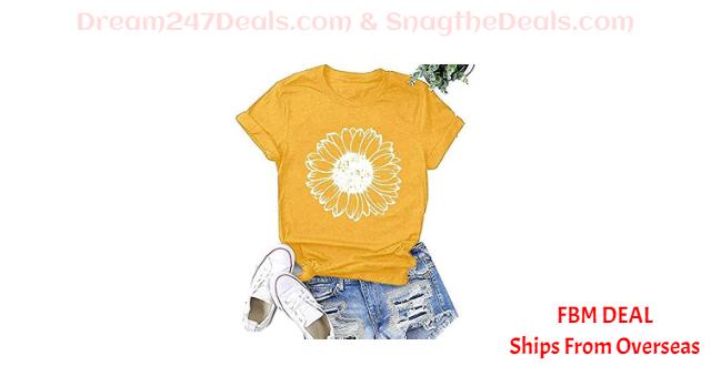70%  off Short Sleeve Sunflower Print Loose T-Shirt