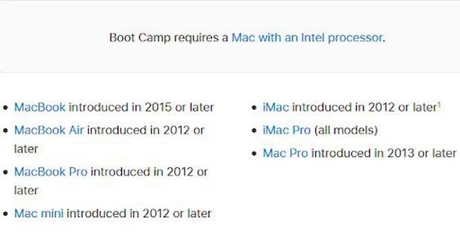 Danh sách những dòng máy Mac có thể chạy Windows
