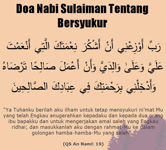 Doa nabi Sulaiman an naml 19 Agar terus mensyukuri nikmat Allah