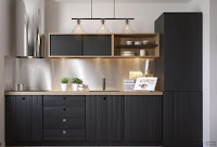 Modern kitchen example with black cabinet