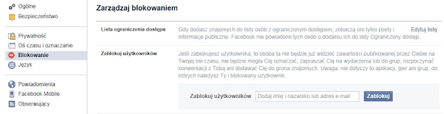 Blokowanie osoby na Facebooku