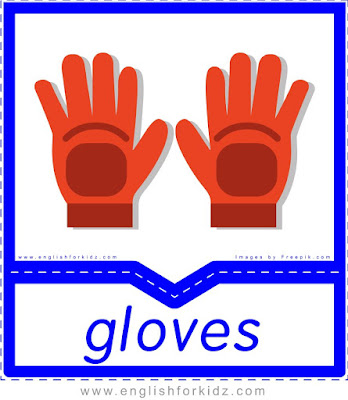 Gloves - clothes and accessories flashcards to learn English