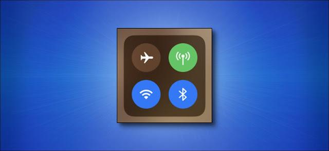 أيقونات مركز تحكم Apple iPhone على خلفية زرقاء