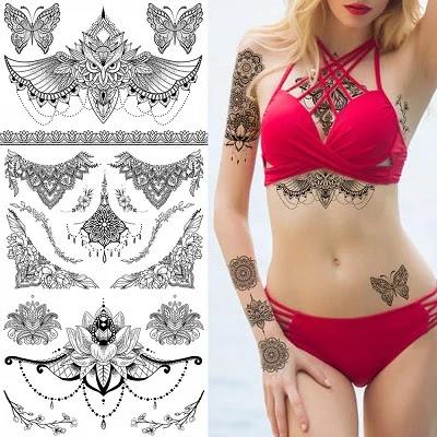 Black Mandara Underboob Tattoo for Women, Flower Leaf Butterfly Dreamcatcher Designs Temporary Tattoo Body Art