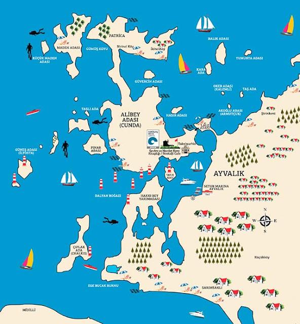 Ayvalık'ta gezilecek yerleri haritadan inceleyebilirsiniz.