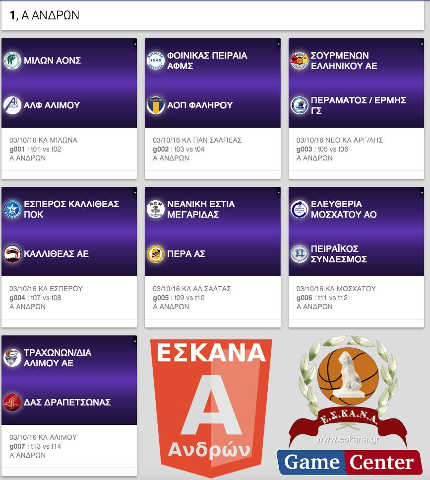 Η κλήρωση της Α΄ Ανδρών ΕΣΚΑΝΑ 2016-17
