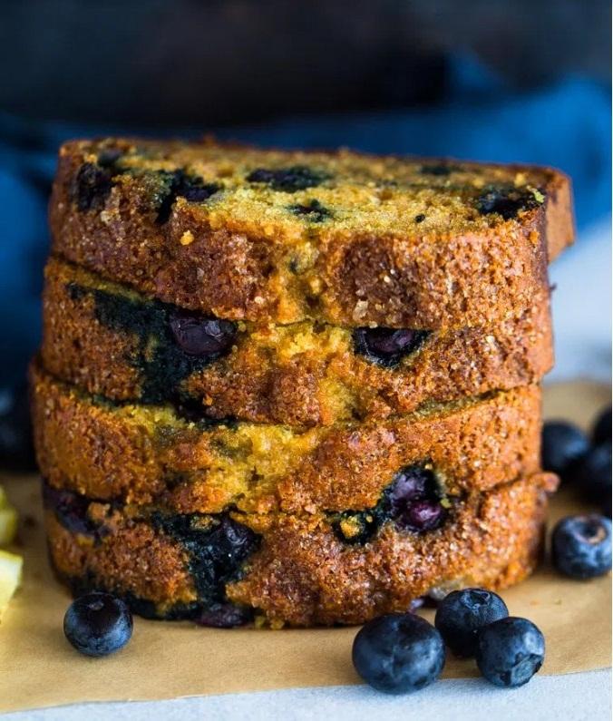 Healthy Moist Lemon Blueberry Bread