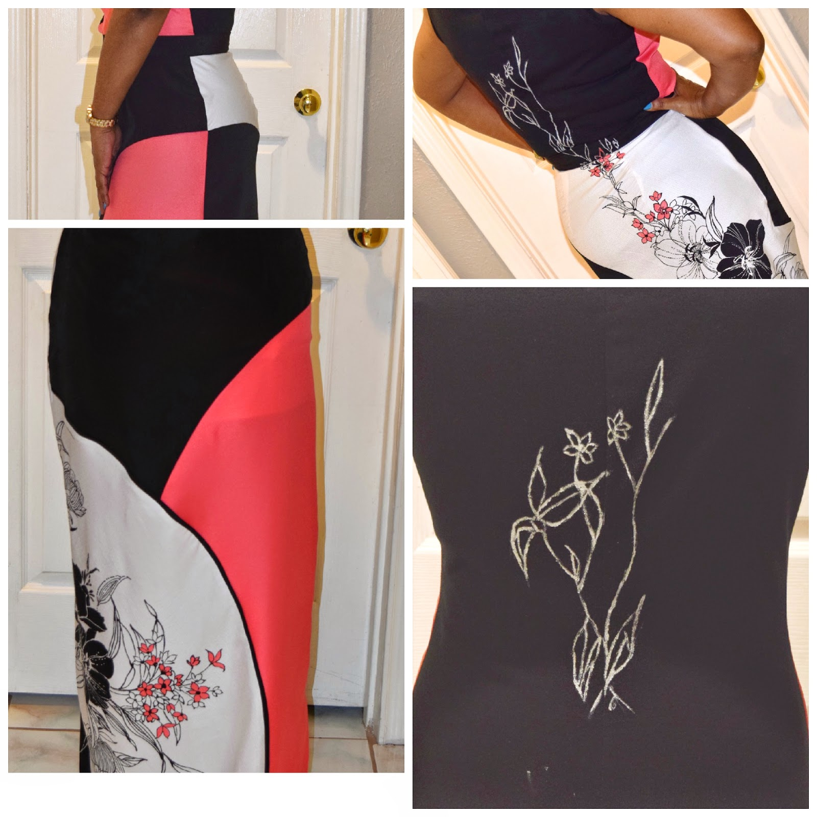 piping the skirt and painting the back of the vogue top.
