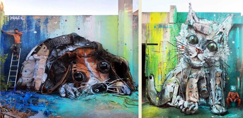 A arte de Bordalo II: cão e gato