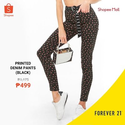 Printed Denim Black Pants F21
