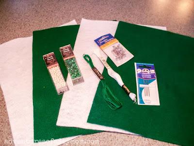 supplies for felt shamrock pins