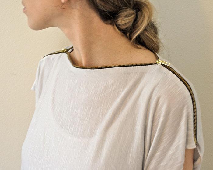 fermuarlı farklı değişik tarz yakalı tişört