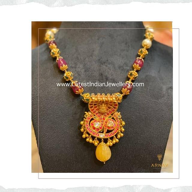 Ruby Beads Mala Naga Pendant