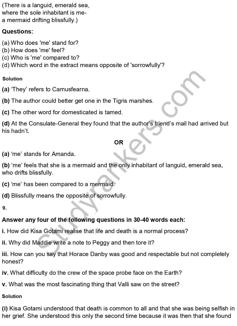 CBSE Previous Year Question Paper Class 10 English 2019 Part 10