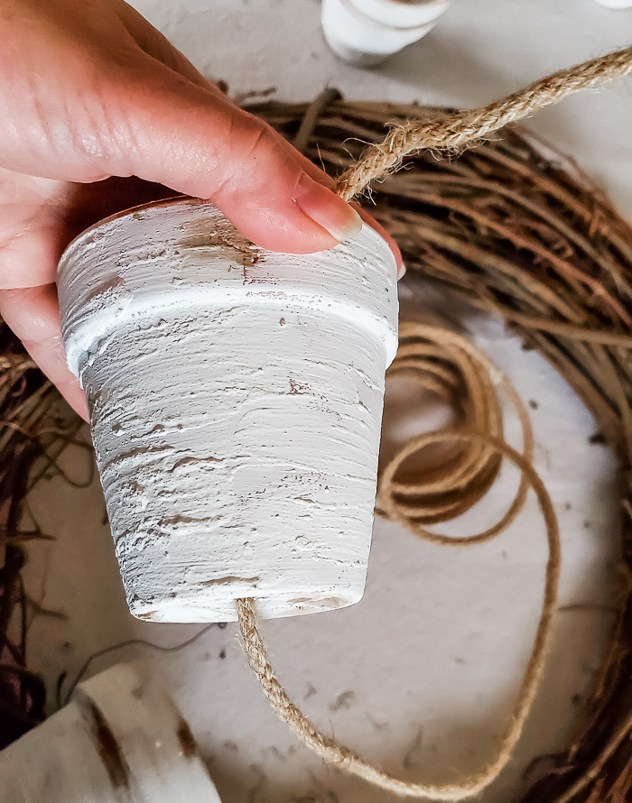 painted pot and twine