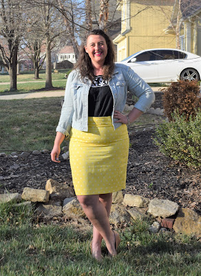 denim jacket, polka dot pencil skirt, embroidered tank, nude wedges