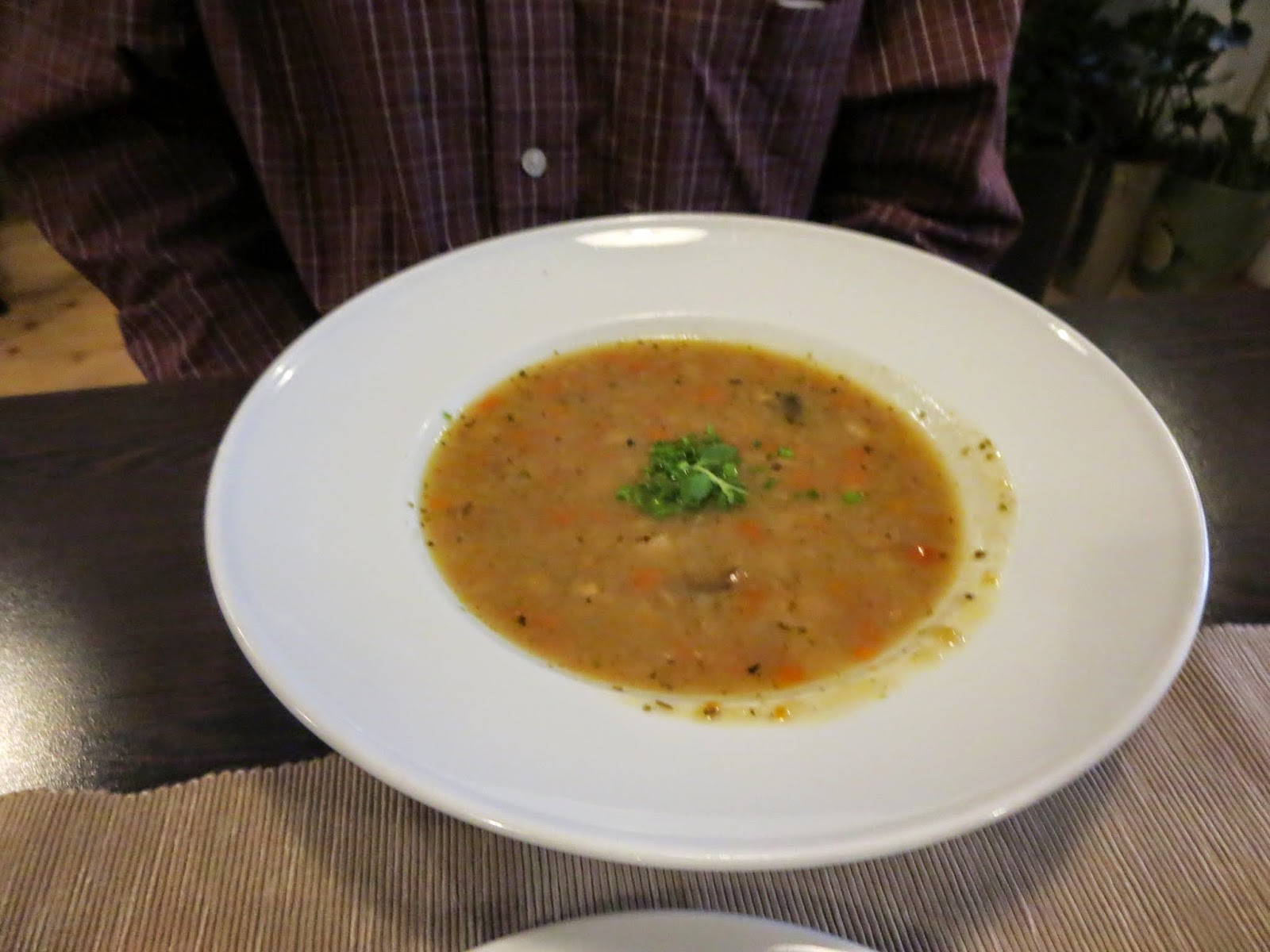Onion soup at Restaurace U Kroka in Prague