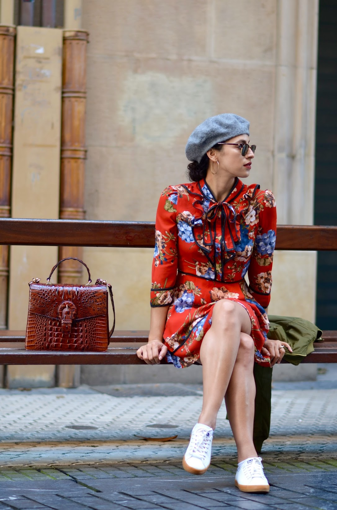 Brahmin leather satchel, grey beret, fall berry lipstick, Colour Pop, hoop earrings, red floral dres, San Sebastian, Spain
