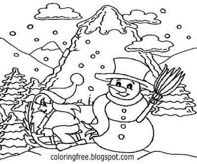 Frozen scene pretty snowman drawing winter snow coloring pages free kids printable craft activities