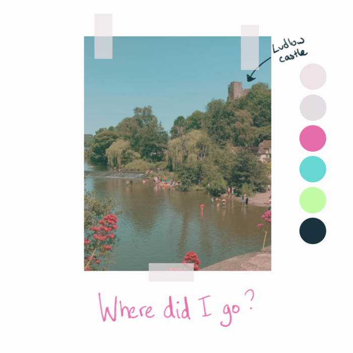 Square header image, white background with a colourful photo taped in the centre and in pink a handwritten title of 'where did I go?' Image is of a sunny day with people paddling in a river with trees and a castle in the background. There's a hand drawn arrow to the castle and handwritten note saying 'Ludlow castle'